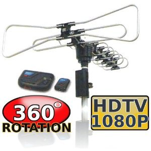 Amplified Outdoor Remote Controlled HDTV Antenna UHF/VHF FM Radio 360 Degree Motorized Rotation Kit with 75ft RG6 and clips Works UP TO 2 TV's