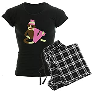 CafePress Sock Monkey Monogram Girl V Women's Dark Pajamas Women's Dar
