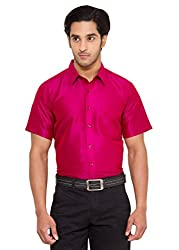 Vivyaan Pink color Solid Pattern Men's party wear shirts