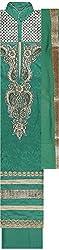 Preety Women's Cotton Semi Stitched Dress Material (PW059, Green)