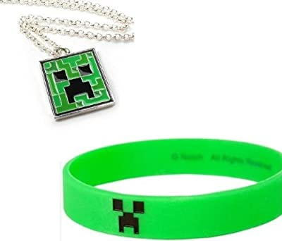 Minecraft Creeper Necklace Rubber Bracelet Set Of 2 from MOJANG