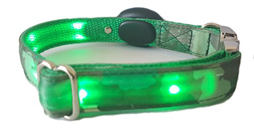 Lily's Playhouse Green Camouflage LED Safety Dog Collar - 5 Steady Glow or Blinking LED's To Keep Your Dog Visible And Safe - Adjustable Medium Size 10 to 15 inches