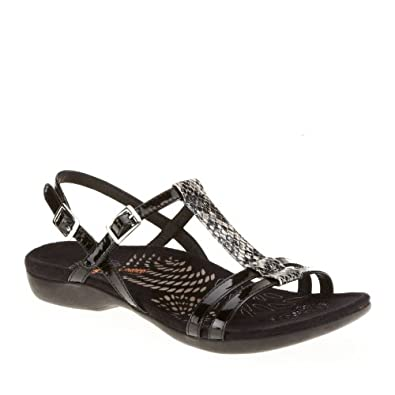 Dr. Andrew Weil Women's Strive T-Strap Sandals, Black Snake, 11 M/B