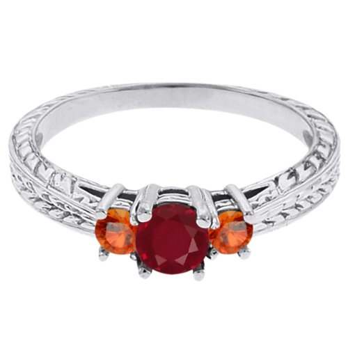 0.56 Ct Round Red Ruby Orange Sapphire 14K White Gold 3-Stone Ring