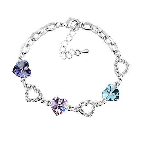 Le Premium® - Braccialetto con ciondoli in cristallo Swarovski a forma di cuore, colore: Viola scuro, Viola e Acquamarina