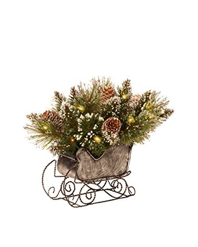 National Tree Company 10 Glittery Bristle Pine Sleigh with White Cones
