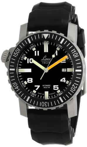 Laco 1925 Men's Automatic Watch with Black Dial Analogue Display and Black Rubber Strap 861704