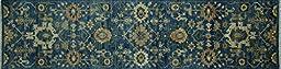 3\'x10\' Runner Handmade Blue Art Deco Design Hand Knotted Oriental Wool Rug MC219