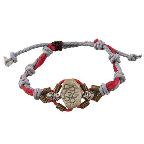 Rosallini Retro Style Ceramic Metal Bead Decor Light Gray Red String Bradied Bracele
