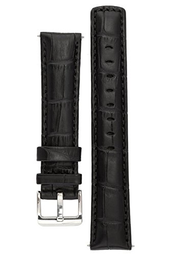 signature-freedom-black-20-mm-watch-band-replacement-watch-strap-genuine-leather-silver-buckle