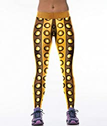 iSweven Gold Design Printed Polyester Multicolor Yoga pant Tight legging for womens girls
