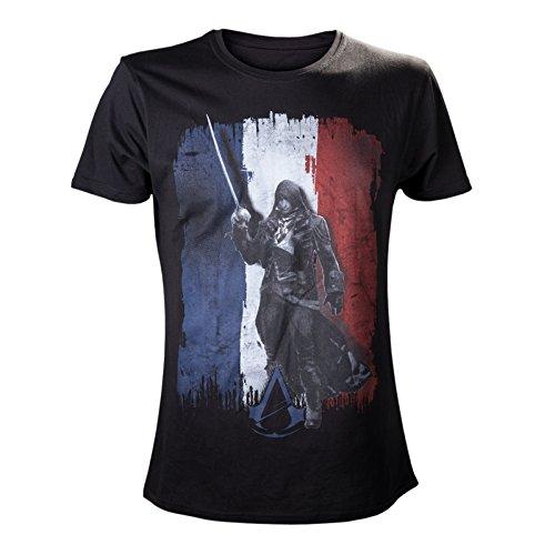 Assassin's Creed - Flag - T shirt con stampa di Arno Dorian e sfondo della bandiera francese - Girocollo - Nero - S