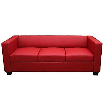 3er Sofa Couch Loungesofa Lille ~ Kunstleder, rot