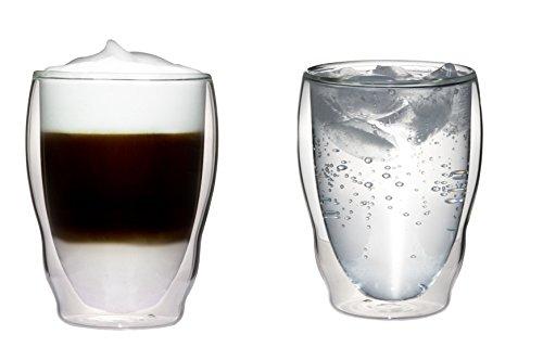2x 270ml doppelwandige Thermogläser Wellenform mit Schwebe-Effekt für Cappuchino, Latte Macchiato, Cocktails, Tee, Säfte, Bier, Eis uvm. Aquartus von Feelino