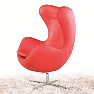 Amazon Com Egg Chair In Leather Red Kitchen Amp Dining