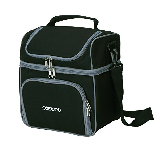 Coowind Insulated Cooler Lunch Bag With Adjustable Shoulder Strap (Black) (Lunch Bags With Hard Liner compare prices)