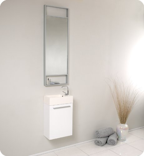 Fresca Pulito Small White Modern Bathroom Vanity w/Tall Mirror