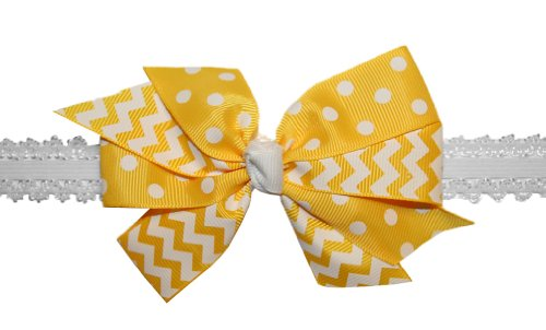 Webb Direct 2U Baby-Girls Chevron & Dotted Bow Stretch Headband Yellow (5152) front-851489