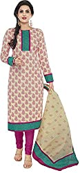 SP Marketplex Women's Cotton Unstitched Dress Materials (Spmsg317, Off White And Magenta)