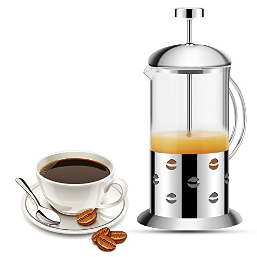 KUWAN French Press Coffee Tea Maker 20 Ounce Double Filter Coffee Press Pot with Stainless Steel Heat Resistant Glass