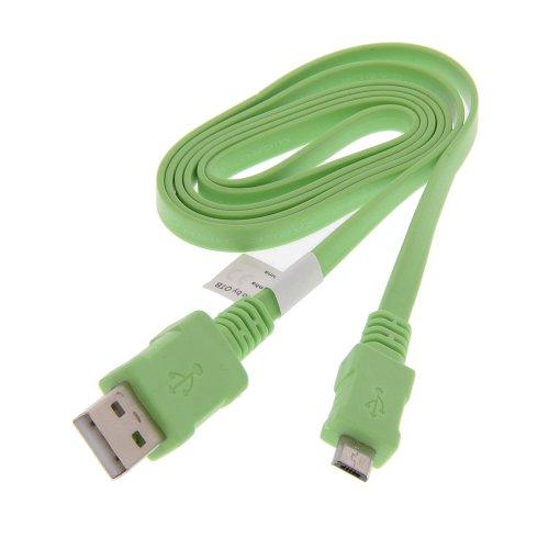 USB Datenkabel Daten Kabel Flachbandkabel mit Ladefunktion hellgrün 0,95m für LG AX155 AX300 AX500 Swift
