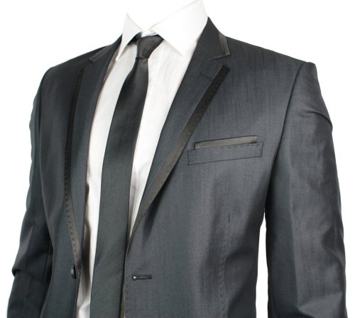 Mens Slim Fit Charcoal Grey Suit Black Stripe Lapels 1 Button UK Stock