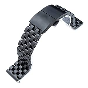 21.5mm Super Engineer I 316L SS Watch Bracelet for Seiko Tuna, Dome Deployant PVD Black