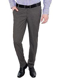 Only Vimal Men's Grey Self-Designed Slim Fit Formal Trouser - B01H1XAVG6