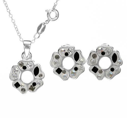 Sterling Silver Crystals Ladies Jewelry Set. Length 14 in. Total Item weight 5.5 g.