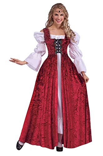 Medieval Lace up Gown Costume Dress Burgundy Velvet Adult Std Women's Halloween