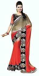 Pehnava Silk Stone Work Saree (MRB2133_Red Brown)