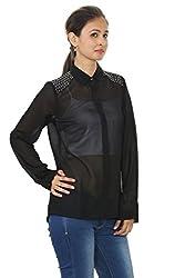Embellished Black Chiffon Shirt