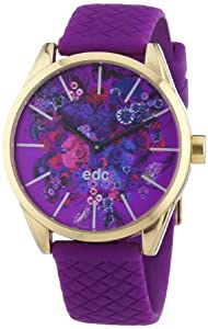 Edc Damen-Armbanduhr blushing flowers - crazy purple Analog Quarz Kautschuk EE100422005