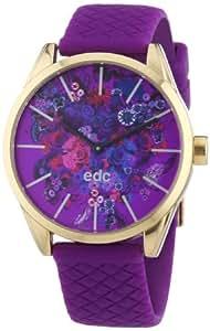 Edc Damen-Armbanduhr blushing flowers - crazy purple Analog Quarz Kautschuk EE100422005