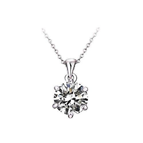 J&F - Collana da donna con pendente di cristallo Swarovski Crystal, placcata Rodio