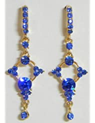 Dark Blue Stone Studded Dangle Earrings - Stone And Metal
