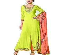 Wonder Villa Women's Faux Georgette Semi-Stitched Dress Material - ELIZA 5001_Green
