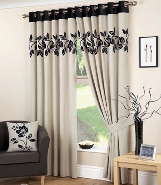 Curtina Rivage Eyelet Lined Curtain, Black, 90 x 72-inch