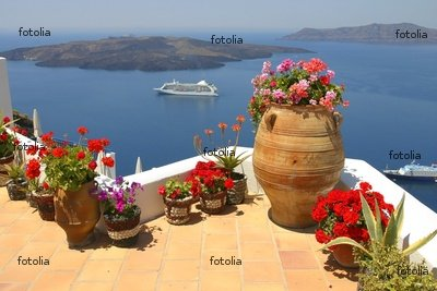 """Wallmonkeys Peel and Stick Wall Decals - Restaurant from Santorini - 24""""W x 16""""H Removable Graphic"""