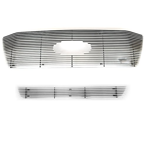 E-Autogrilles Aluminum Polished 4mm Horizontal Overlay Billet Grille Combo (Includes 1PC Upper Billet Grille & 1PC Bumper Billet Grille) for 06-08 Ford F-150 XLT / 06-08 Ford F-150 Lariat (38-5102) (Ford F150 2008 Front Emblem compare prices)
