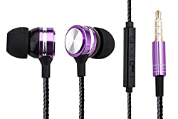 Woozik WZ-10 In-Ear Noise Isolating Heavy Bass Headphones with Mic, Volume Control and Answer Button for Apple Iphone 6/6s and Android Galaxy