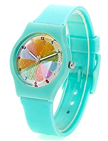 buy Zeiger New Cool Analog Easy Read Lovely Time Teacher Young Girls Teen Kids Wrist Watches, Rainbow Dial Silicon Band (Mint-Green)