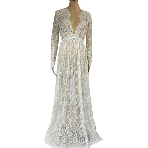 Floral Lace See-though Deep V-neck Long Sleeves Bridesmaid Maxi Dress w/ Necklace (XXXX-Large)