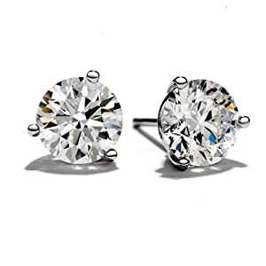 2 Carat Appraised 3 Prong Stud Earrings in Platinum I-J Color SI1-SI2 Clarity Round Cut Diamond Earrings with push back setting