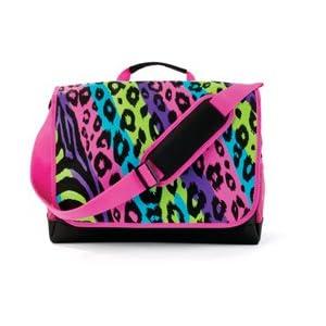 Pink Zebra Leopard Girl School Messenger Laptop Bag