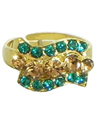Dark Cyan Blue And Light Brown Stone Studded Adjustable Ring - Stone And Metal