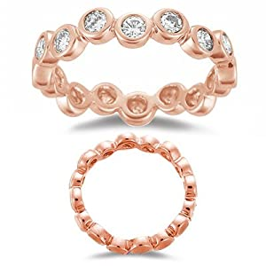 0.56 Cts Diamond Stack Band in 14K Pink Gold-6.5