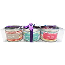 Danali New York - Gift Set Of 3 Scented Tin Candles - Drop Geometric (Patchouli, Cookies & Cream & Iris Rose)