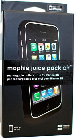 New OEM AT&T Apple iPhone 3G/3GS Black Mophie Juice Pack Air Rechargeable Battery Case