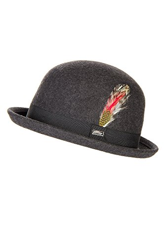 Crushable Wool Derby Bowler Hat With Feather Accent, Grey Mix/Feather, Size Large (7 1/5 - 7 3/8)